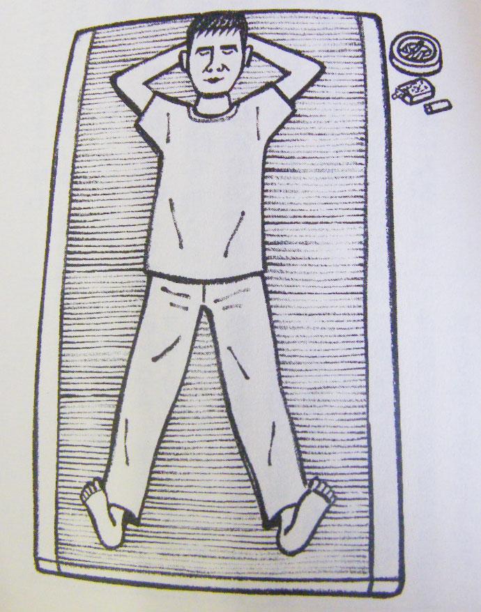 い草マットで寝るイトイさんの図